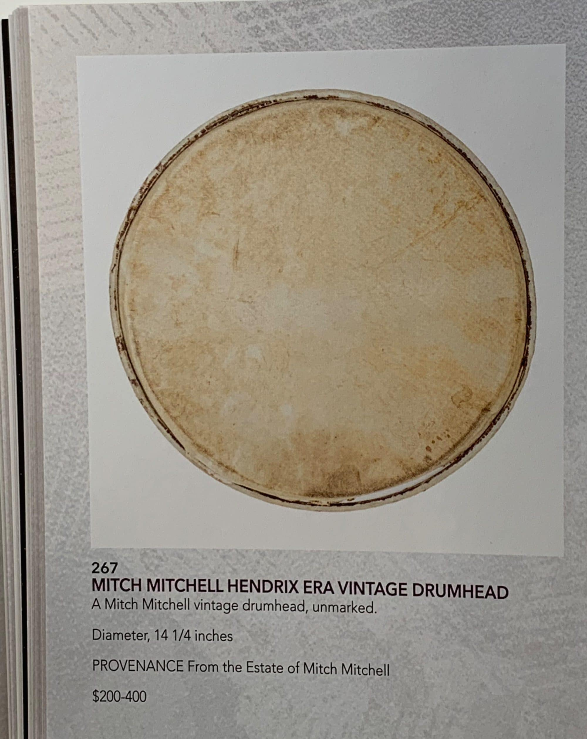 mitch mitchell jimi hendrix experience owned used vintage drum head. Black Bedroom Furniture Sets. Home Design Ideas