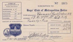 Fats Waller – Signed 1936 Donation Receipt