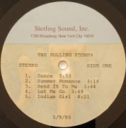 Rolling Stones – Alternate 'Emotional Rescue' LP Acetate From Collection of Rolling Stones Records President