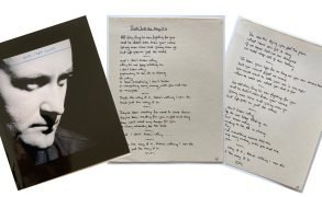 """Phil Collins – Handwritten Lyrics For """"That's Just The Way It Is"""" Reproduced on the 'But Seriously' Album Cover (Genesis)"""