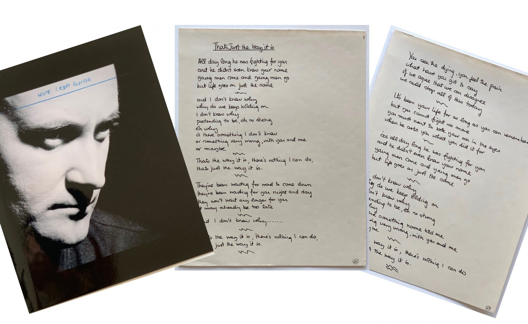phil collins handwritten lyrics for that s just the way it is