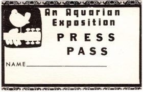 Woodstock Festival – Original 1969 'Press' Backstage Pass (Jimi Hendrix, The Who, Grateful Dead, Janis Joplin)