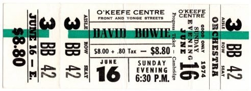 David Bowie –  Son Zowie's Unused 1974 Toronto Concert Ticket