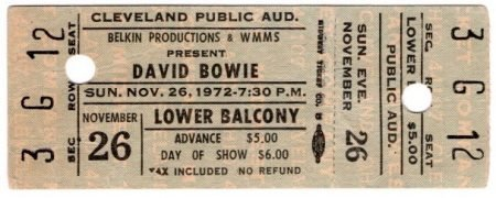 David Bowie – Unused Cleveland 1972  Full Concert Ticket, from Ziggy Stardust Tour
