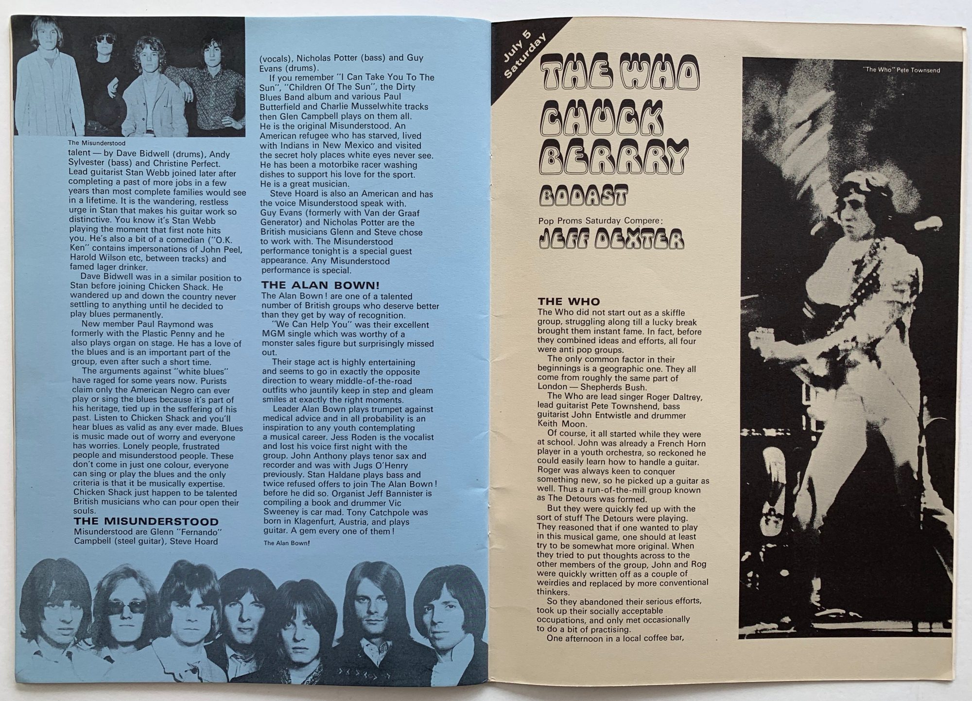 Led Zeppelin The Who Fleetwood Mac Etc 1969 Royal Albert Hall Pop Proms Concert Program
