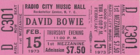 David Bowie – Unused Full Ticket Radio City Music Hall 1973 Ziggy Stardust Tour