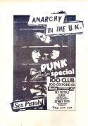 """Sex Pistols, Clash, Siouxie, Etc –  1976  """"Punk Special"""" 100 Club Punk Concert Poster"""