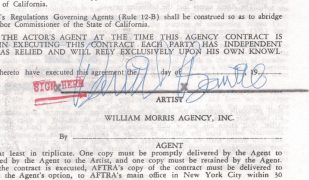 David Bowie – Signed Talent Agency Contract for 1972 Ziggy Stardust US Tour