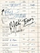 The Clash –  Fully Autographed 1978 Hotel Rooming List, With Roger Epperson Letter of Authenticity