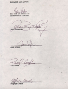 Sex Pistols – 1977 Full Band Signed Contract Between Virgin & Warner Bros. Records