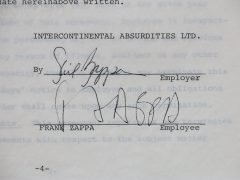 "Frank Zappa – 1970 ""Intercontinental Absurdities"" Employment Contract, signed by Frank & Gail Zappa + Legal Documents Contract"
