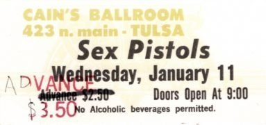 Sex Pistols – Unused 1978 Cain's Ballroom Tulsa, OK Full Concert Ticket