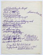 Neil Young – 1968 Working Lyric Manuscript for 'If I Could Have Her Tonight' from Debut Album, Reproduced in Archives Vol. 1 Book