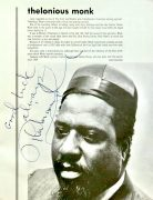 Thelonious Monk – Beautifully Signed 1966 Detroit Jazz Festival Program (Also Signed by Charlie Rouse & George Wein)