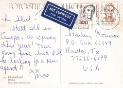 Velvet Underground – Handwritten Postcard From Moe Tucker to Sterling Morrison