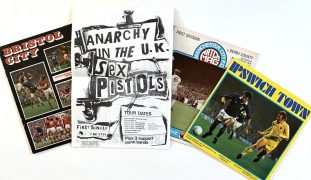 Sex Pistols – Four 1976 UK Football Programs with 'Anarchy' single/tour advertisements (one with a handbill)