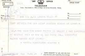 David Bowie – Pre-Ziggy 1972 Telegram From RCA to Tony DeFries at GEM