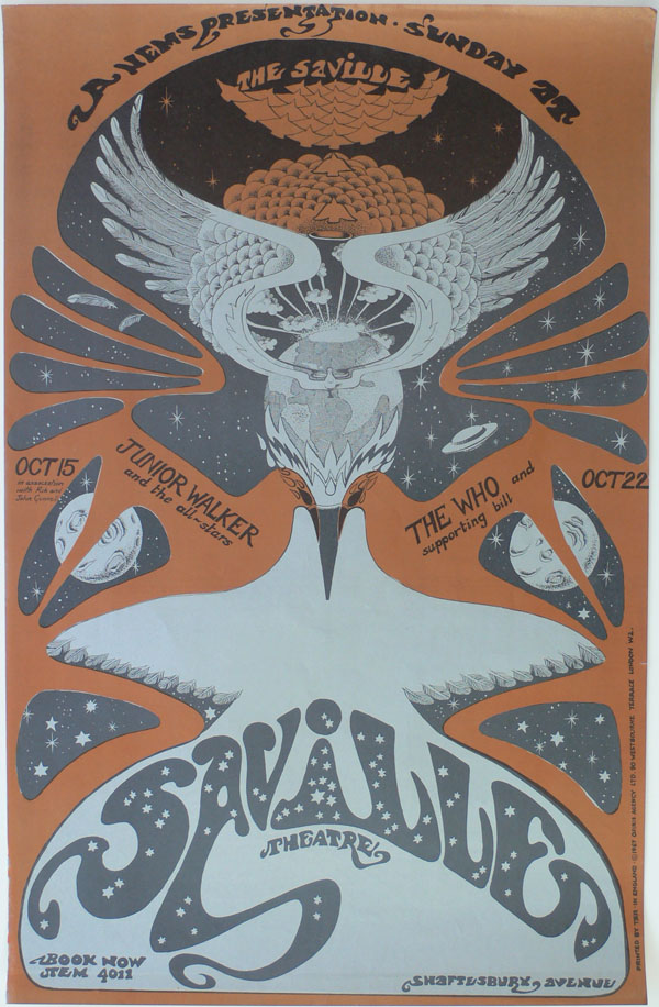 The Who – Junior Walker & The All-Stars – Original 1967 Hapshash Concert Poster