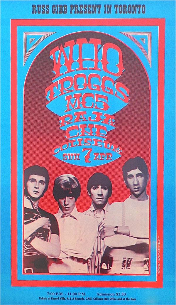 The Who – MC5 – The Troggs – Toronto 1968 Concert Poster