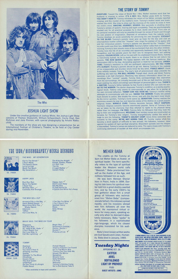 The Who Fillmore East 1969 Tommy Concert Program – Concert Program