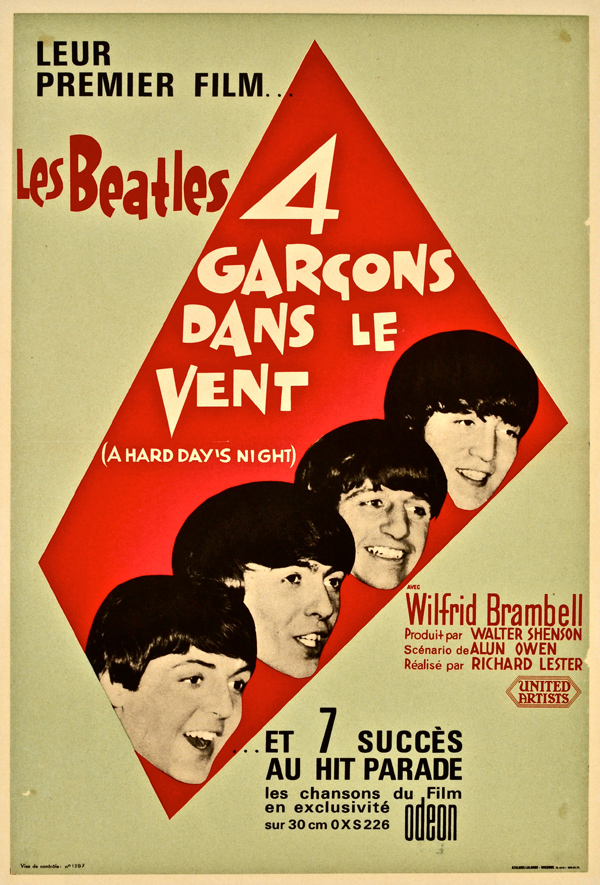 The Beatles – 1964 French A Hard Day's Night Movie Poster