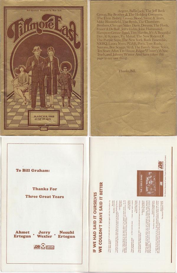 Allman Brothers Band, J. Geils, Albert King – Fillmore East Closing Concerts Program