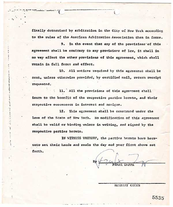 Frank Zappa & The Mothers of Invention – Signed Contract For Formation of Bizarre Records