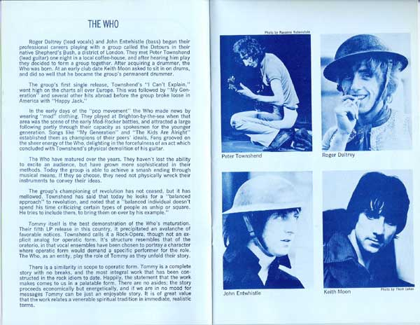 The Who – TOMMY at the Fillmore East program