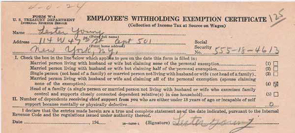 Lester Young – Handwritten & Signed Tax Document