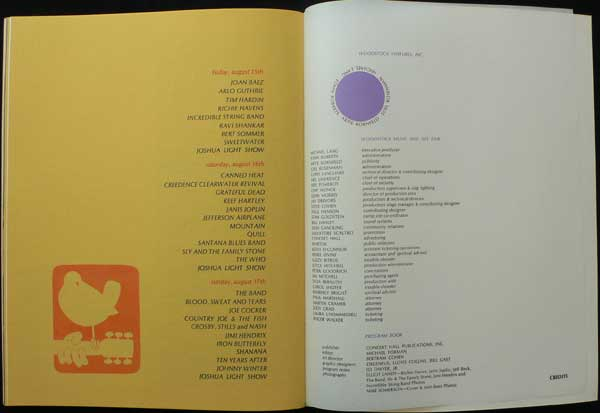 Woodstock – Original 1969 Concert Program (Jimi Hendrix, The Who