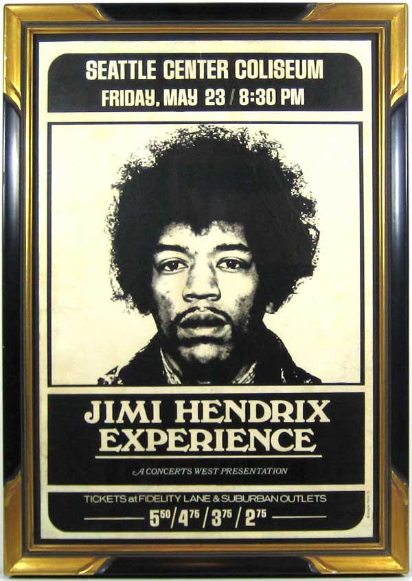 Jimi Hendrix Original 1969 Cardboard Concert Poster