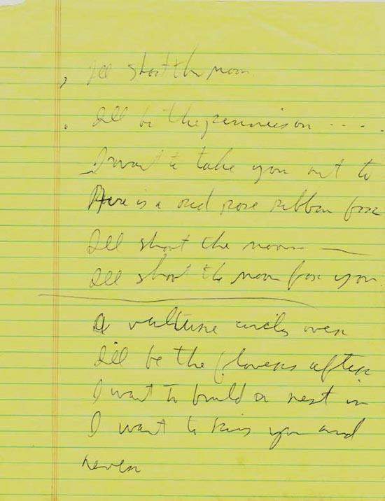 Tom Waits – Original Handwritten Song Lyric Sheet