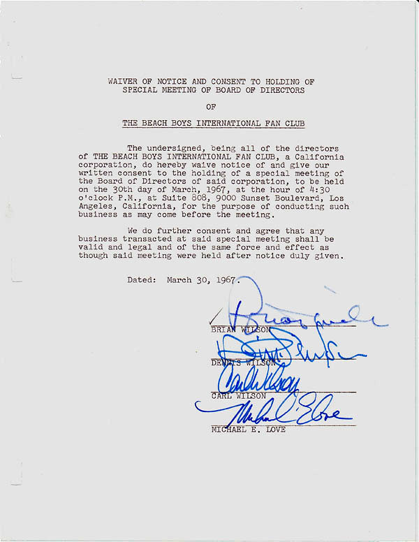 The Beach Boys – Signed 1967 Legal Document