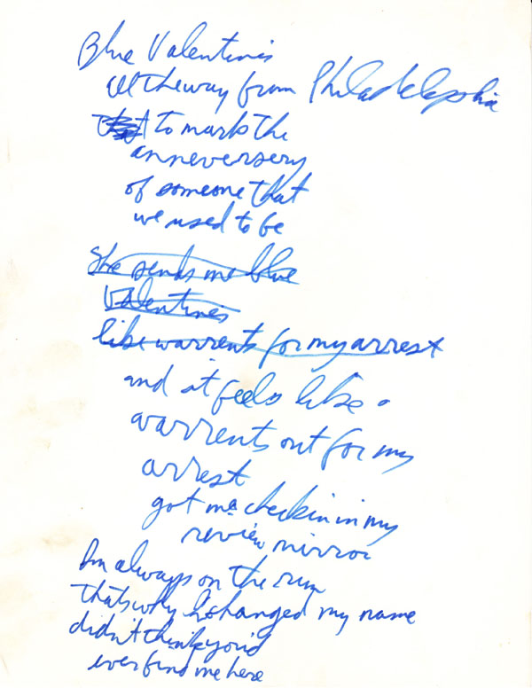 Tom Waits – Handwritten Blue Valentine Working Manuscript
