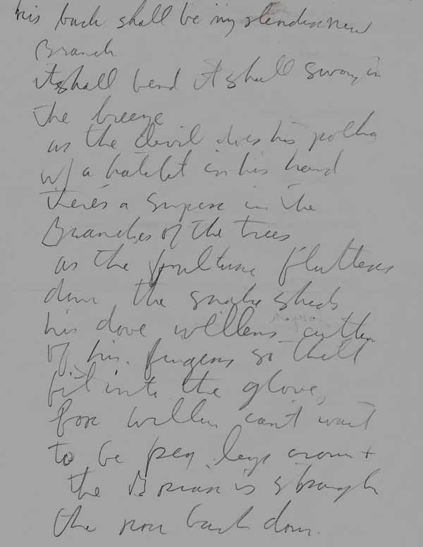 Tom Waits – Handwritten Original Song Lyric Page
