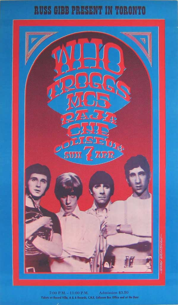 The Who, MC5, Troggs – 1968 Gary Grimshaw concert poster