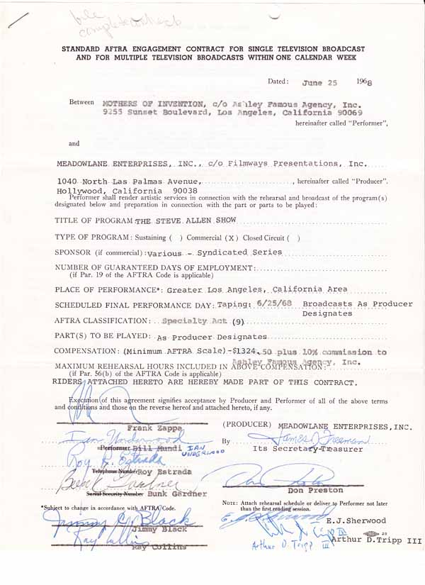 Frank Zappa & The Mothers of Invention – 1968 Contract Signed By 9 Band Members