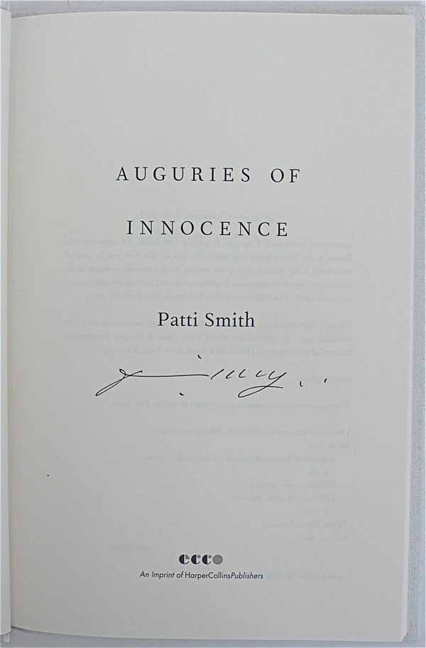 Patti Smith Signed First Edition Book border=