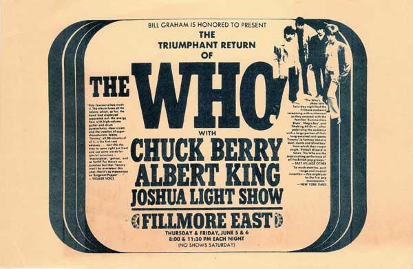 The Who – Fillmore East '69 concert handbill
