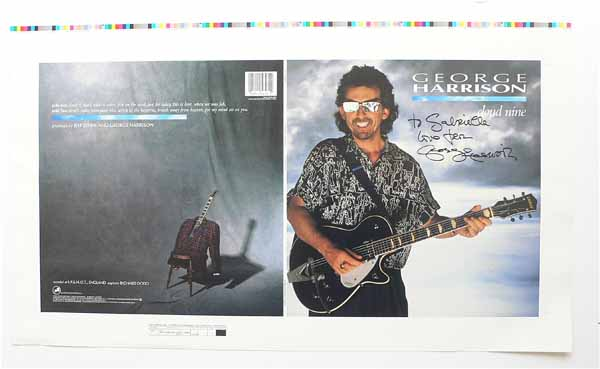 George Harrison Beatles Signed Cloud Nine Album Cover