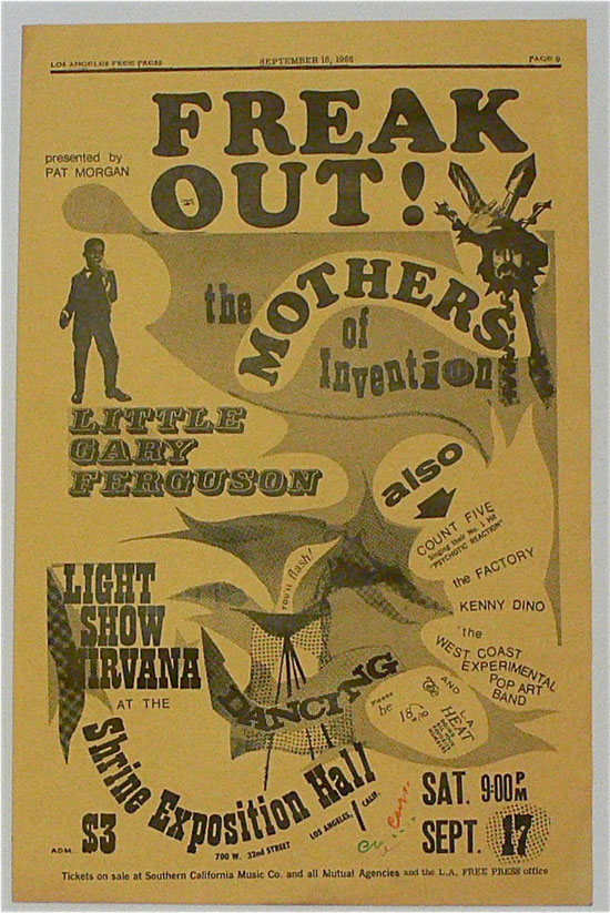 Frank Zappa & The Mothers – West Coast Pop Art Exp. Band – 1966 Freak Out Concert Poster