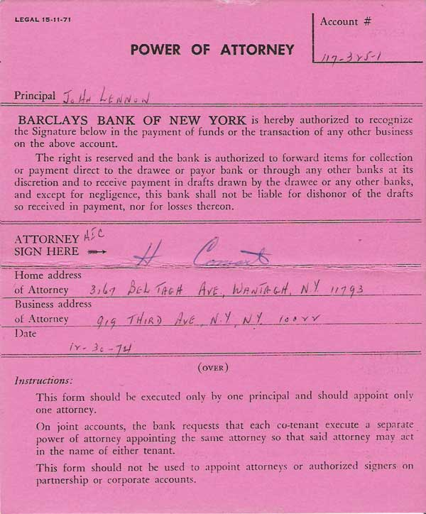 john lennon signed power of attorney document