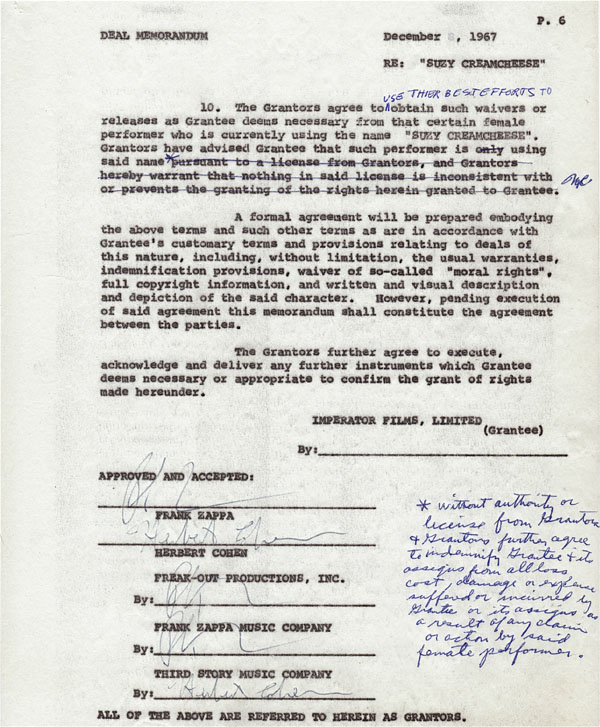 Frank Zappa – Mothers of Invention – Triple Signed Suzy Creamcheese Film Contract