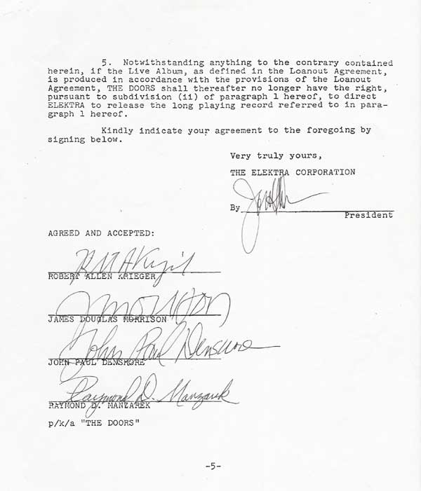 sc 1 st  Recordmecca & The Doors u2013 Signed 5 page Elektra Records contract