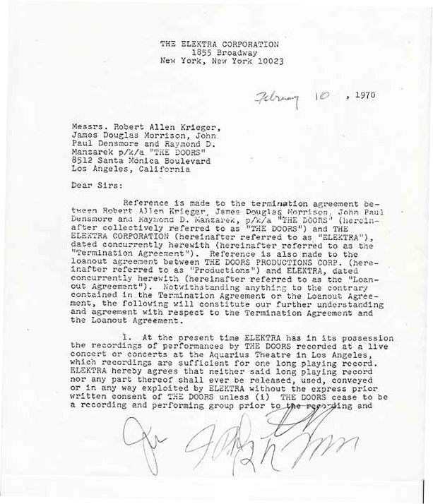sc 1 st  Recordmecca & The Doors \u2013 Signed 5 page Elektra Records contract