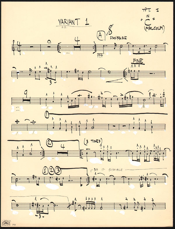 Frank Zappa – Handwritten Musical Arrangement