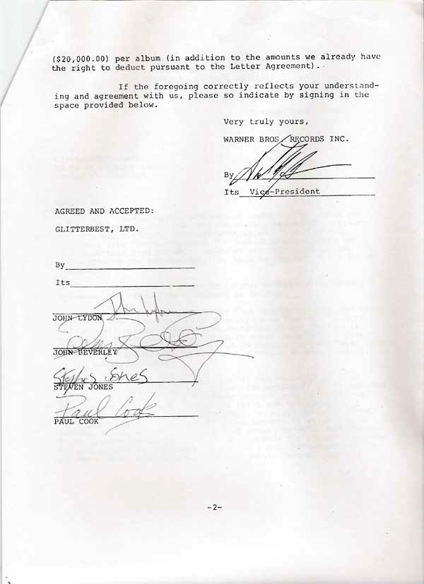 Sex Pistols Signed Warner Bros Records Contract