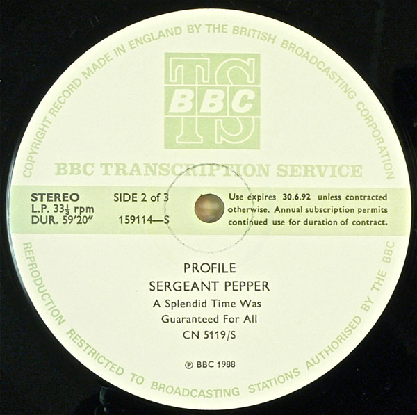 "The Beatles – BBC Transcription Service ""Sergeant Peppers"" 2 LP Tribute"
